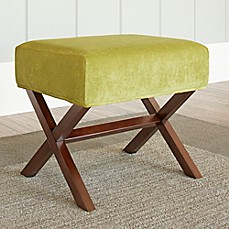 image of Chatham House Upholstered Ottoman with Wood Legs in Lime