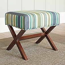 image of Chatham House Upholstered Ottoman with Wood Legs in Stripe