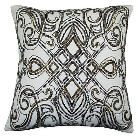 Buy Festivo Beaded Square Throw Pillow in Gold/Silver from Bed Bath & Beyond