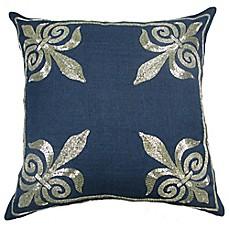 Fleur De Lis Square Throw Pillow In Navy