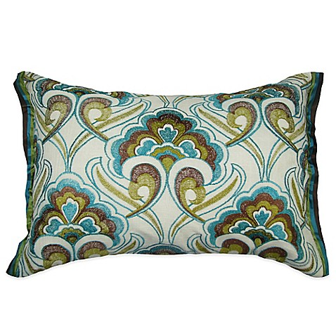Bed Bath And Beyond Blue Throw Pillows : Peacock Embroidered Oblong Throw Pillow - Bed Bath & Beyond