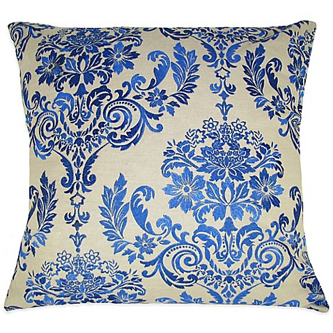 Buy French Damask Embroidered Square Throw Pillow in Blue from Bed Bath & Beyond