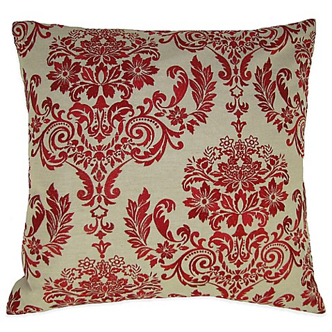Buy French Damask Embroidered Square Throw Pillow in Red from Bed Bath & Beyond