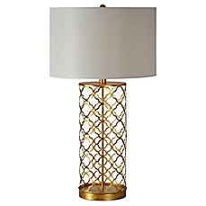 image of Ren-Wil Stardust Table Lamp in Gold with Linen Shade