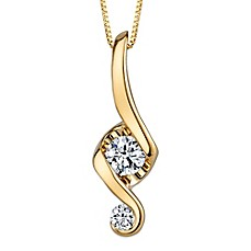 image of Juno Lucina 14K Yellow Gold Diamond 18-Inch Chain Love and Protection Pendant Necklace