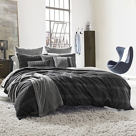 Kenneth Cole Reaction Home Obsidian Reversible Duvet Cover In Black