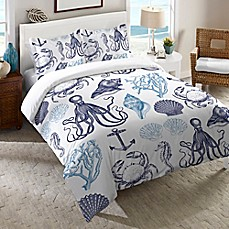 image of Laural Home® Navy Coastal Creatures Duvet Cover in Blue