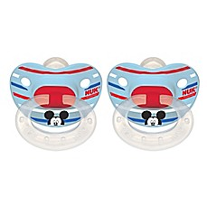image of NUK® Disney® Mickey Mouse 2-Pack Orthodontic Pacifiers in White/Blue Multi