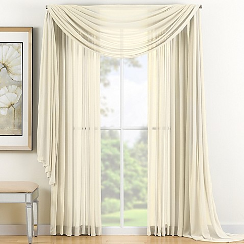 buy reverie 120 inch sheer window curtain panel in ivory