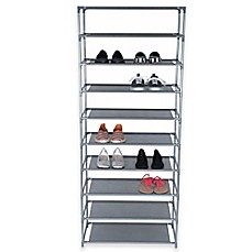 Image Of Home Basics® 10 Tier Coated Non Woven Shoe Rack In Grey