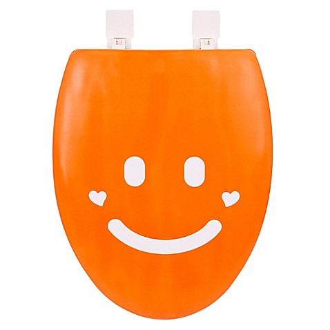 Happy Seat Elongated Soft Padded Smile Toilet Seat In Orange White Bed Bath
