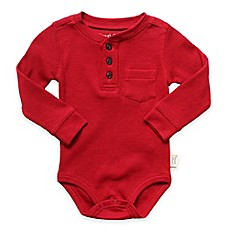 image of Planet Cotton® Crew Neck Long Sleeve Henley Thermal Bodysuit in Red