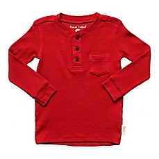 image of Planet Cotton® Crew Neck Long Sleeve Thermal Henley T-Shirt with Pocket in Red
