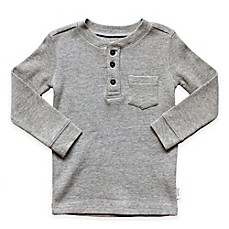 image of Planet Cotton® Crew Neck Long Sleeve Thermal Henley T-Shirt with Pocket in Grey