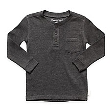 image of Planet Cotton® Crew Neck Long Sleeve Thermal Henley T-Shirt with Pocket in Charcoal