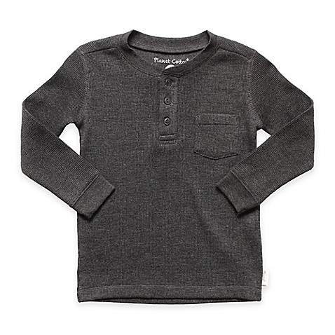 Planet Cotton Crew Neck Long Sleeve Thermal Henley T