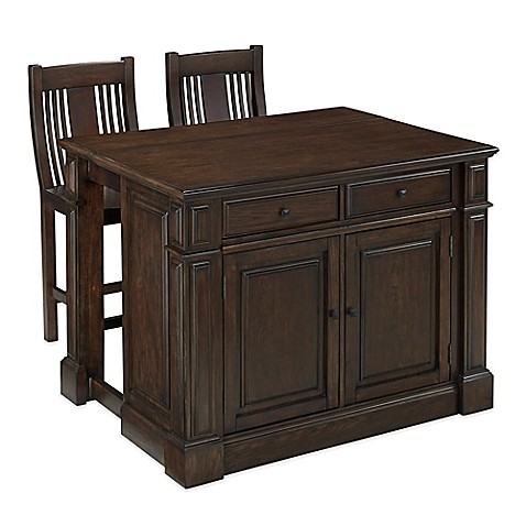 Home Styles Prairie Home 3 Piece Kitchen Island And Stools