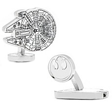 image of Star Wars™ Silver-Plated Millennium Falcon Blueprint Cufflinks