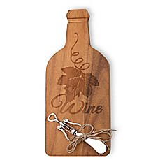 image of Boston International Bottle-Shaped Wood Cheese Board with Spreader