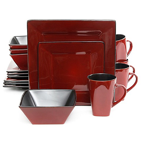 Gibson Overseas Kiesling 16 Piece Dinnerware Set In Red Black Bed Bath Amp
