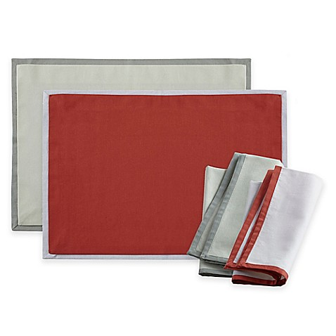 Wamsutta® Bordered Linen Placemat and Napkins