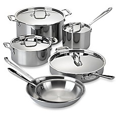 image of All-Clad Stainless Steel 10-Piece Cookware Set and Open Stock