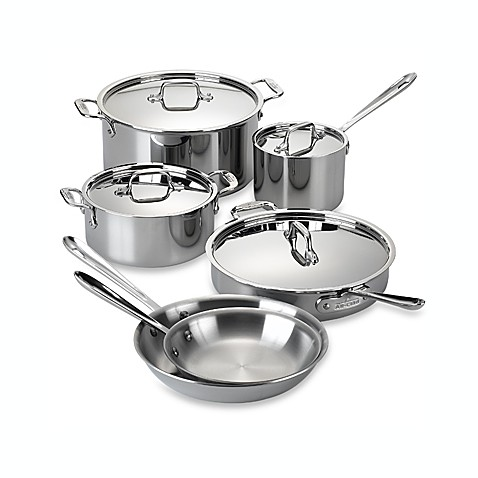 All clad stainless steel 10 piece cookware set and open for Kitchen set nz