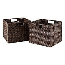 image of winsome trading granville small foldable corn husk baskets in chocolate set of 2 - Decorative Baskets