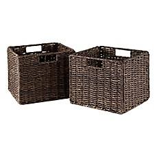 baskets the decor hinged box with decorative storage lid bins wicker s ashcraft