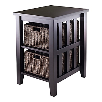 Image Of Winsome Trading Morris End Table With Baskets In Dark Espresso