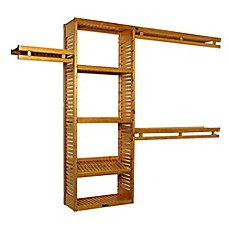 image of simplicity wood closet organizer in honey maple
