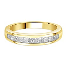 image of 14K Gold Princess-Cut Diamond Ladies' Channel-Set Wedding Band Collection