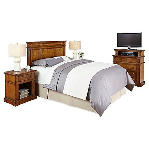 buy home styles americana 4 piece queen full headboard and bedroom furniture set in oak from bed