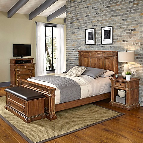 Home styles americana vintage 4 piece bedroom set in for Home styles bedroom furniture