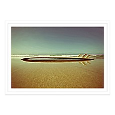 image of retro surfboard on the beach photographed framed art
