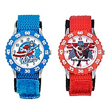 image of Marvel Captain America Children's 32mm Time Teacher Watch in Stainless Steel with Nylon Strap