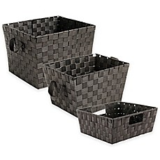 Image Of Woven Storage Tote In Espresso