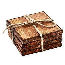 image of Thirstystone® Square Mango Wood Bark Coasters (Set of 4)