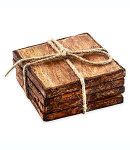 Portavasos Thirstystone®, cuadrados de madera de mango, Set de 4