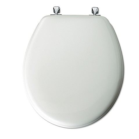 gold foil toilet seat. image of Mayfair  Round White Molded Wood Toilet Seat with Chrome Hinge Seats Bed Bath Beyond