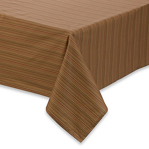 Superb Tuscan Stripe Laminated Fabric Tablecloth And Napkins
