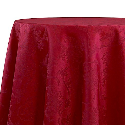 Buy Christmas Ribbons 90 Inch Round Tablecloth In Ruby