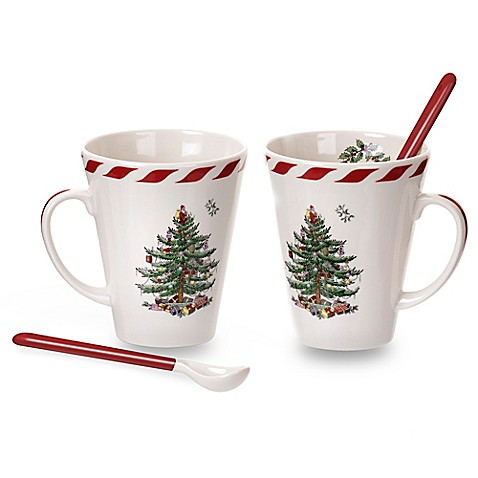 Spode Christmas Tree Mugs Candy Cane
