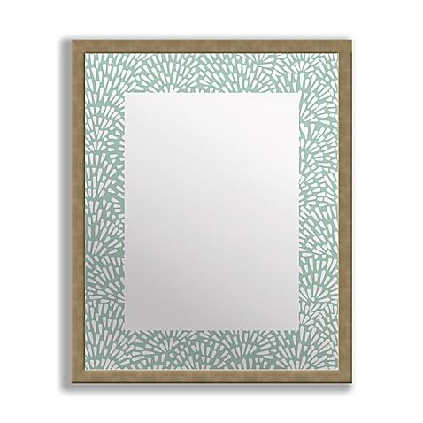 Floral teal framed printed mirror art bed bath beyond for Teal framed mirror