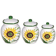 image of Lorren Home Trends Sunflower Design 3-Piece Deluxe Canister Set