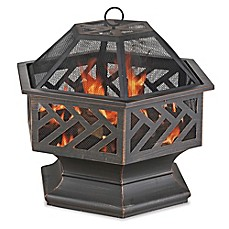 image of UniFlame® Hex Shaped 27-Inch Outdoor Fire Pit in Oil Rubbed Bronze