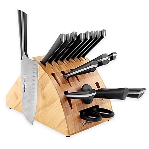 calphalon® katana series™ 18-piece cutlery knife block set - bed