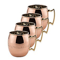 image of Old Dutch International 16 oz. Solid Copper Nickel-Lined Congratulations Moscow Mule Mugs (Set of 4)