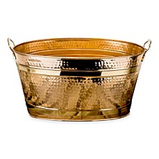 image of Old Dutch International 11-Gallon Copper-Plated Hammered Beverage Tub