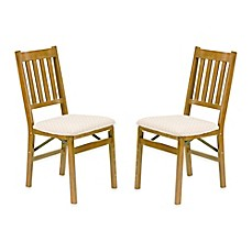 image of Stakmore Arts & Crafts Wood Folding Chairs (Set of 2)